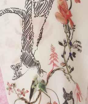 Bespoke Cats, Hand painted pet portraits printed on silk