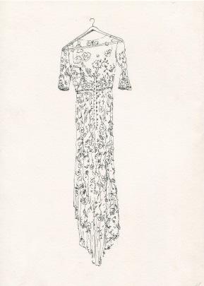 Dress studio 1, ink on paper