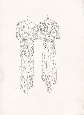 Dress studio 2, ink on paper