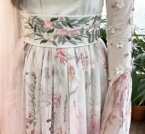 Pink veil, pink print and pink embroidered matching belt