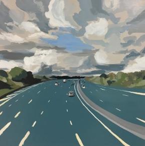Storm on m25. #1. Acrylic on wood, 40x40