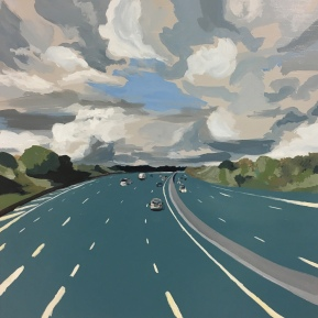 Storm on m25. #1. Acrylic on wood, 40x40