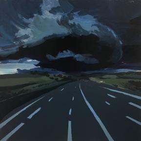 Storm on m25 #2. Acrylic on wood, 40x40