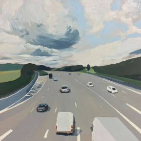 Storm on m25 #3. Acrylic on wood, 40x40