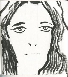 Studio portait, ink on paper